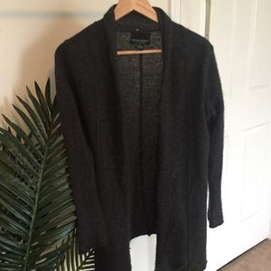 Gray Loose Knit 100% Cashmere Cardigan Sweater